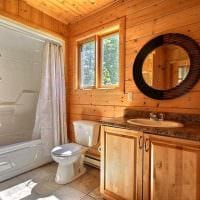 вариант необычного дизайна ванной комнаты в деревянном доме картинка