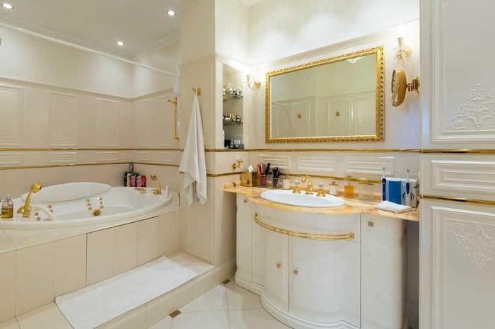 вариант необычного дизайна ванной комнаты в классическом стиле