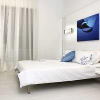 вариант современного дизайна белой спальни фото