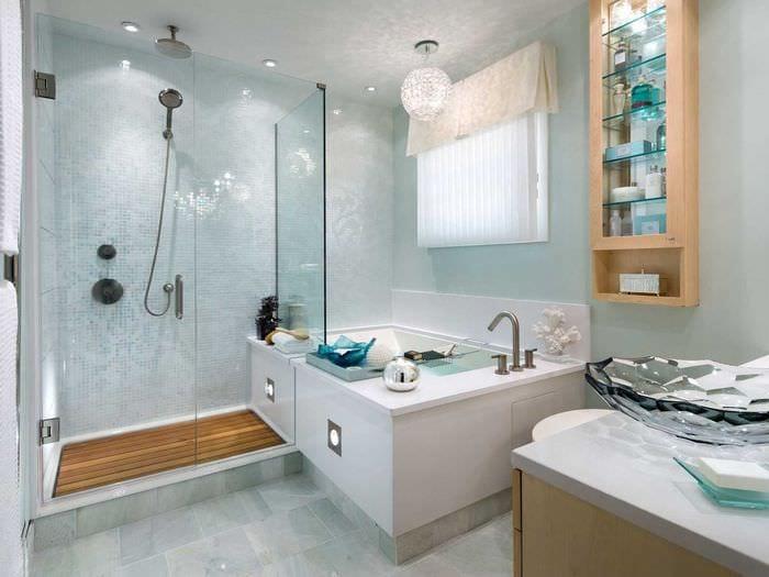 идея красивого интерьера большой ванной