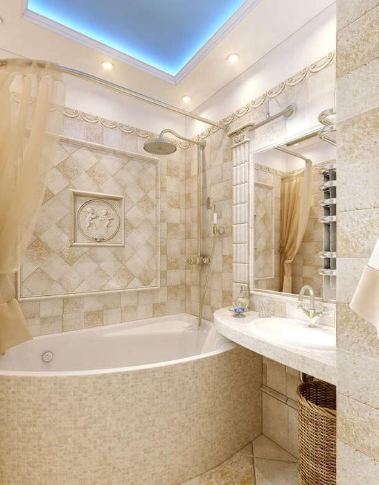 пример яркого интерьера ванной в бежевом цвете