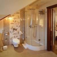 идея современного интерьера ванной комнаты в деревянном доме картинка
