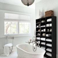 вариант современного стиля ванной в черно-белых тонах фото