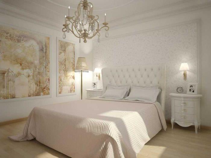 идея красивого стиля спальни в белом цвете