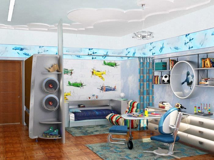 вариант необычного интерьера детской комнаты для двух мальчиков