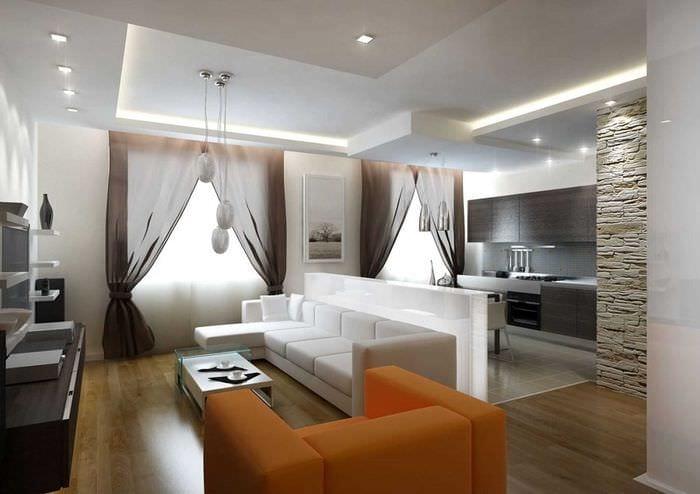 пример необычного интерьера гостиной 25 кв.м