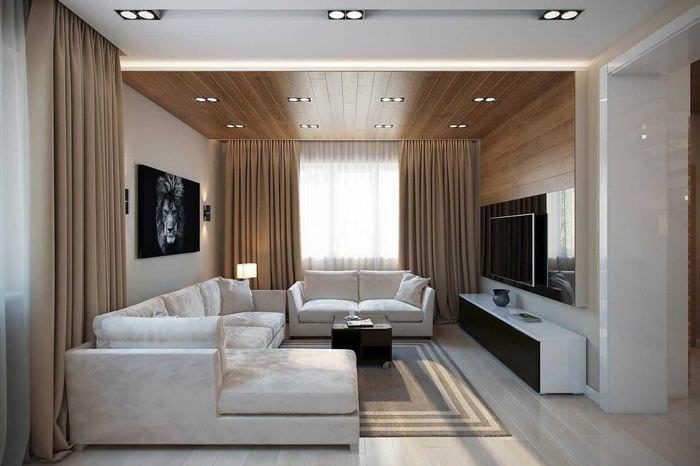 вариант красивого декора зала в частном доме