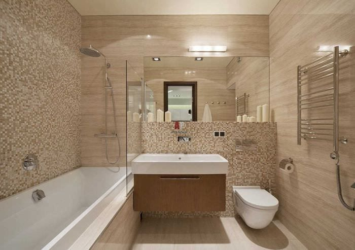 вариант яркого интерьера ванной 2017