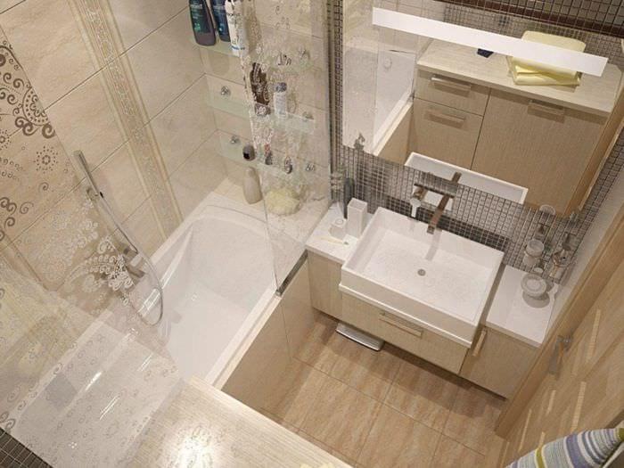 вариант светлого дизайна ванной в бежевом цвете