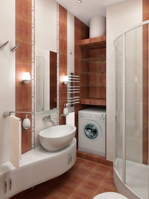вариант необычного интерьера ванной в хрущевке