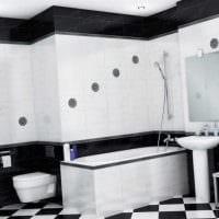 вариант красивого дизайна ванной комнаты в черно-белых тонах фото