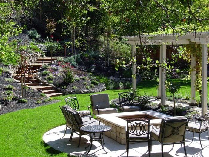 вариант современного украшения двора частного дома