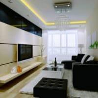 черная мебель в дизайне гостиной