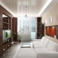 гостиная 18 м2 с белым диваном