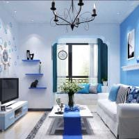 идея использования необычного голубого цвета в дизайне дома картинка