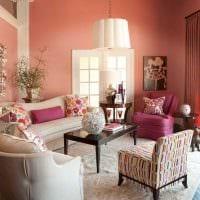 вариант применения розового цвета в светлом дизайне комнате картинка