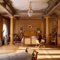 пример использования русского стиля в необычном декоре комнате фото