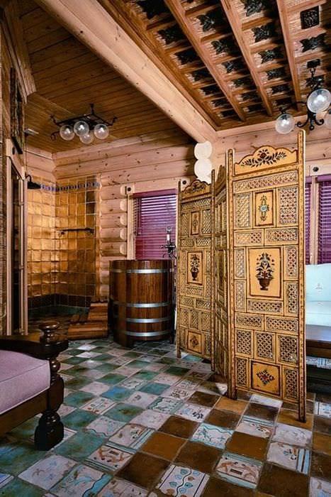идея применения русского стиля в красивом декоре квартире