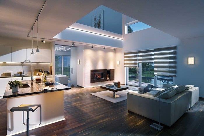 вариант использования светового дизайна в красивом интерьере дома