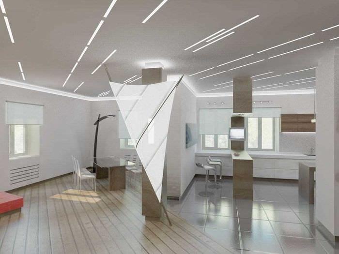 идея использования светового дизайна в ярком декоре дома