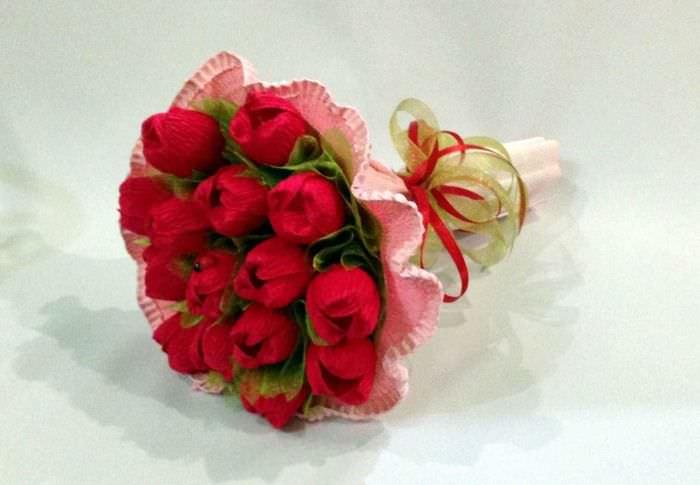 Букеты из конфет своими руками с пошаговым фото тюльпаны