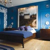 вариант применения необычного голубого цвета в дизайне квартиры картинка