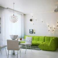 пример использования зеленого цвета в красивом интерьере комнаты картинка
