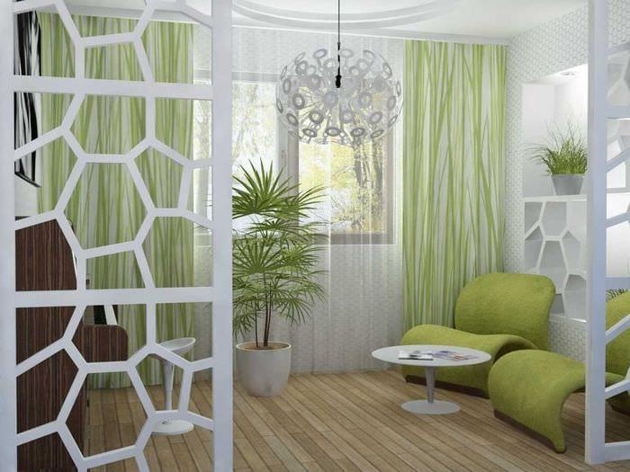 пример применения зеленого цвета в красивом декоре квартиры