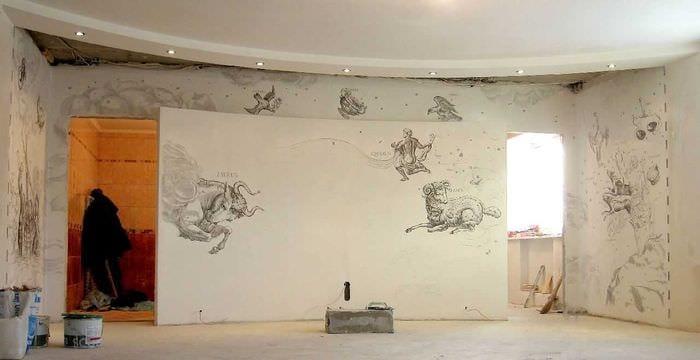 мысль прекрасного рисунка дома с росписью стен