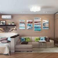 идея светлого интерьера спальни гостиной картинка