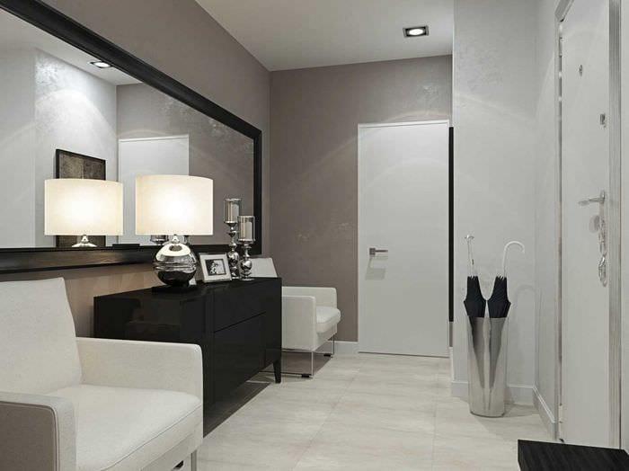 вариант светлого дизайна современной прихожей комнаты