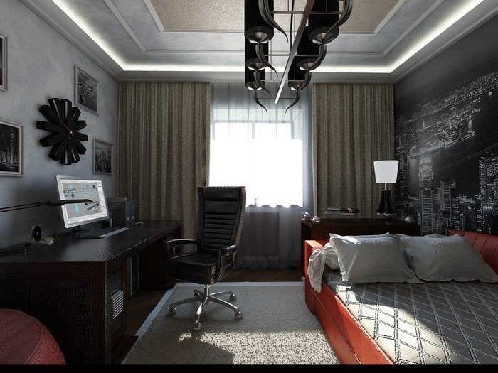 идея необычного интерьера спальни для молодого человека