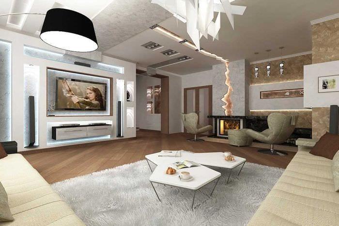 вариант светлого стиля гостиной в частном доме