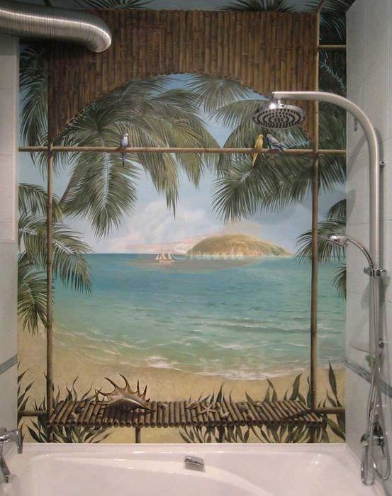 идея красивого дизайна дома с росписью стен