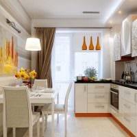 идея светлого стиля кухни 9 кв.м фото