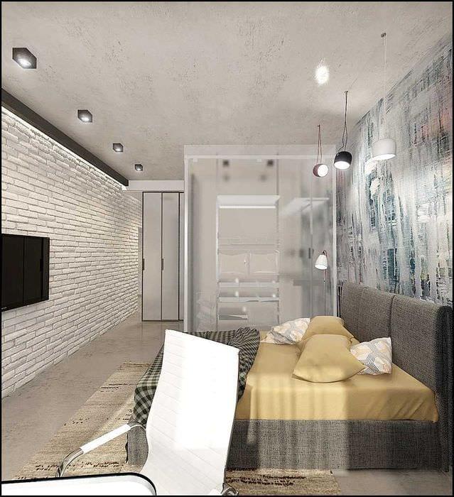 вариант светлого декора спальной комнаты для молодого человека