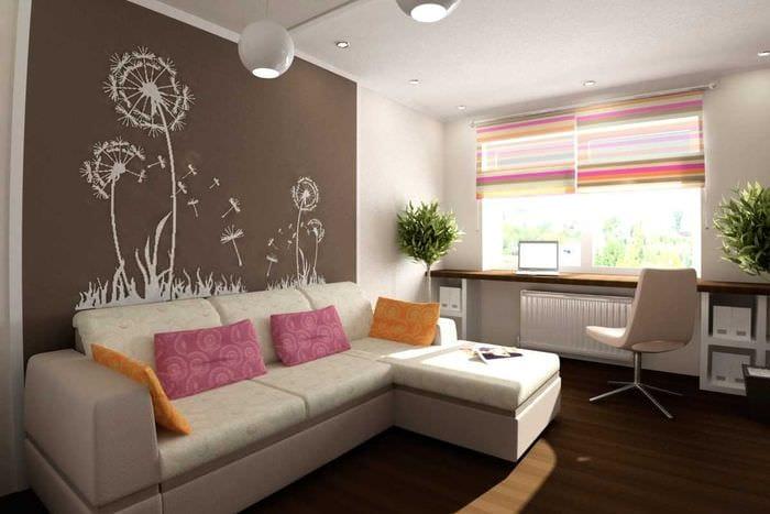 идея красивого интерьера гостиной комнаты 18 кв.м.