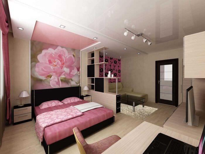 вариант красивого интерьера спальни гостиной