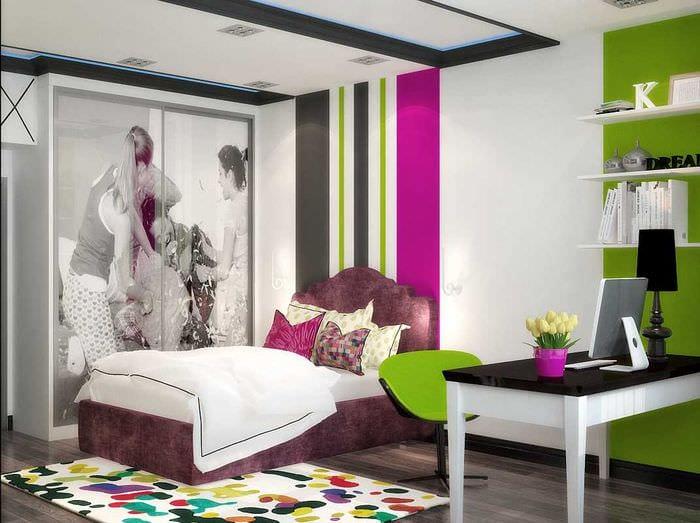 идея яркого дизайна спальной комнаты для девочки в современном стиле