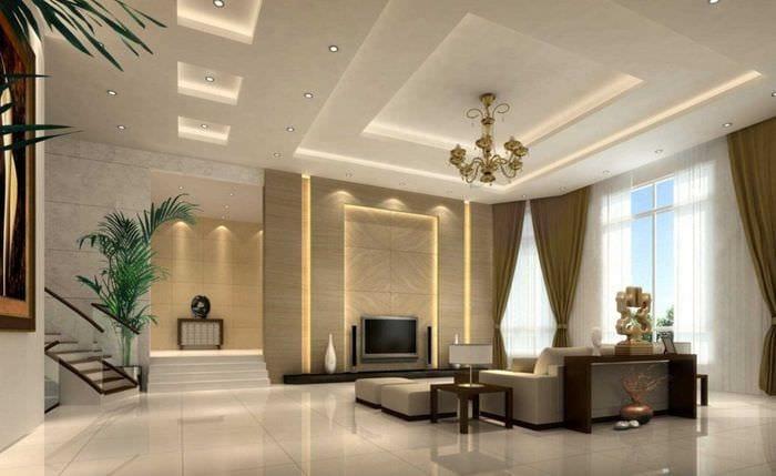 вариант красивого интерьера зала в частном доме