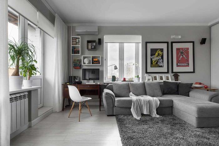 вариант светлого дизайна спальной комнаты 18 кв.м.