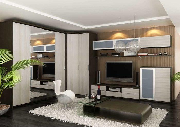 идея яркого декора спальни гостиной