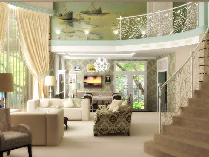 идея необычного декора гостиной в частном доме