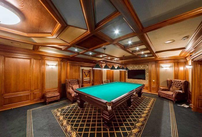 идея необычного дизайна бильярдной комнаты