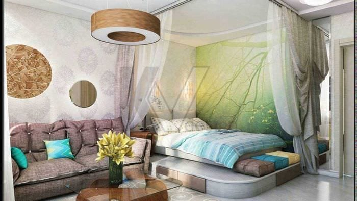 вариант красивого стиля спальной комнаты 18 кв.м.