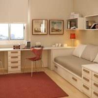 идея светлого дизайна детской комнаты для двоих детей картинка