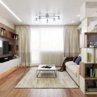 идея светлого декора спальни гостиной 20 кв.м. фото