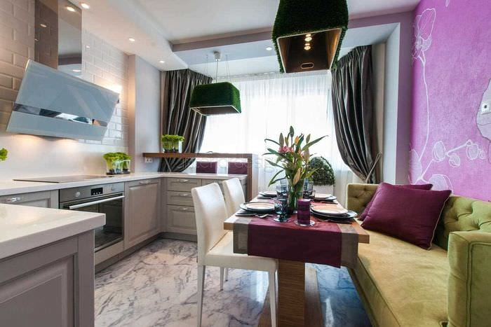 пример светлого дизайна кухни 14 кв.м