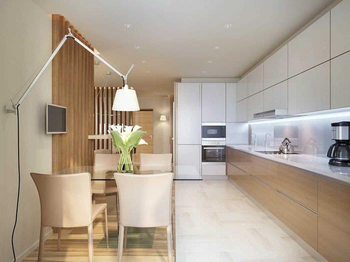 вариант необычного интерьера кухни 14 кв.м