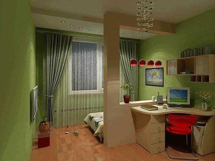 идея необычного дизайна маленькой комнаты в общежитии